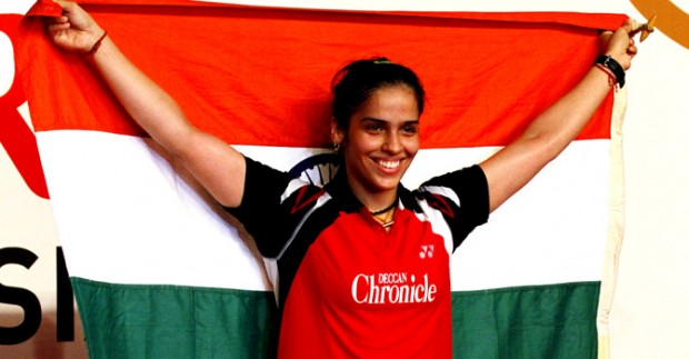 Saina Nehwal Holding Indian Flag After Winning Indonesia Open