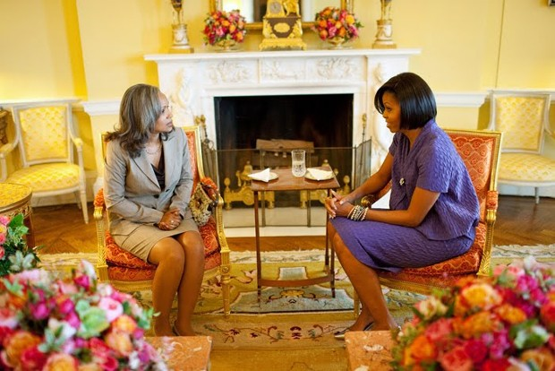 Michelle Obama With Haiti's First Lady Elizabeth Préval