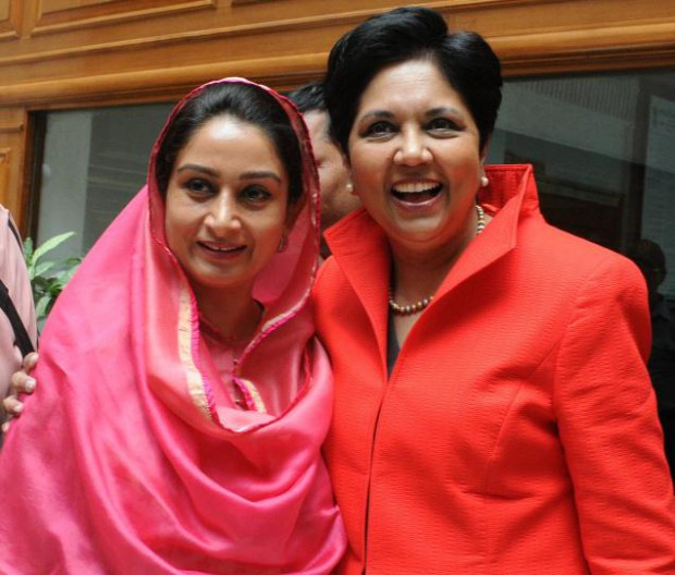 Minister Harsimrat Kaur Badal along with Pepsico chief Indra Nooyi