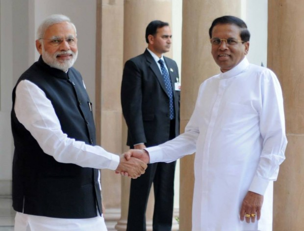 Modi Shaking Hands with Sri Lanka's President  President Maithripala Sirisena in India on His Visit to India