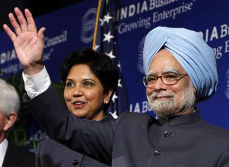 Indra Nooyi with ManMohan Singh.