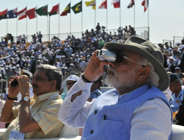 Narendra Modi Watching Indian Air Force Pilots Performance at Aero India 2015