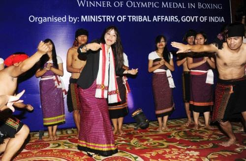 Mary Kom Performing a Traditional Manipuri Dance
