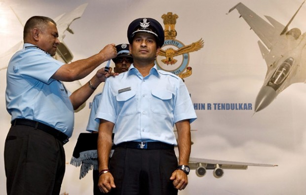 Sachin Honored with Indian Air Force Highest Honory Rank Group Captain