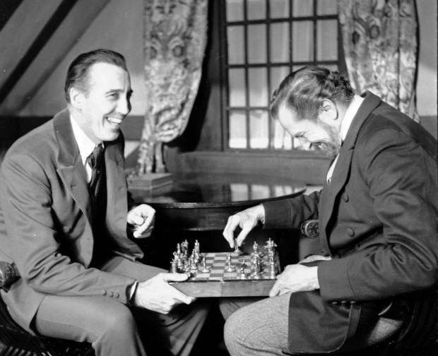 Christopher Lee (left) with Vincent Price