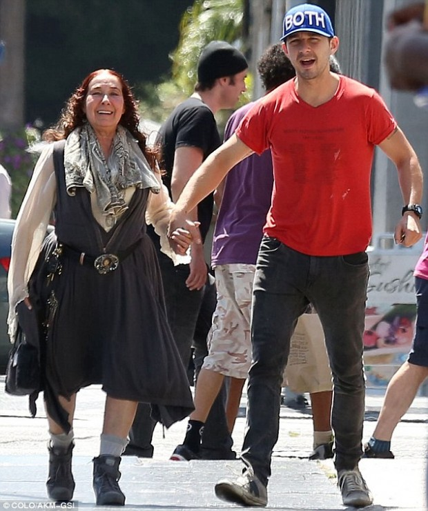 Mother and son Shia LaBeouf held hands with his mother Shayna Saide