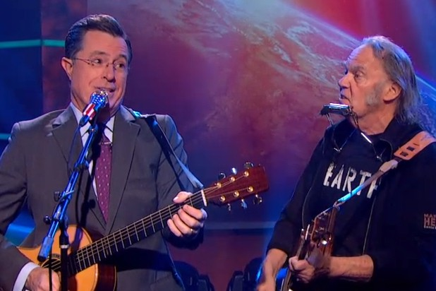 Stephen Colbert with Neil Young At Television Show