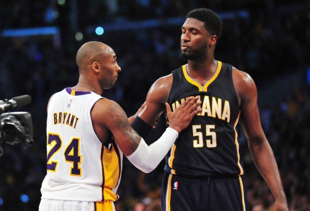 Kobe Bryant with Roy Hibbert