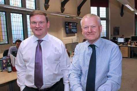 Jon Ravenscroft, left, and Stephen Lansdown in the Cenkos Office