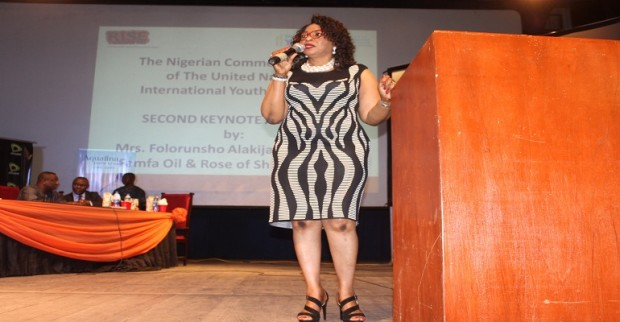 Folorunsho Alakija  At the Youth at the International youth Day  in Unilag
