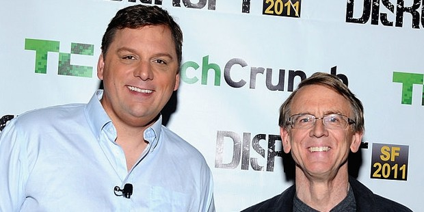 John Doerr (R) and TechCrunch Founder and Co Editor Michael Arringto