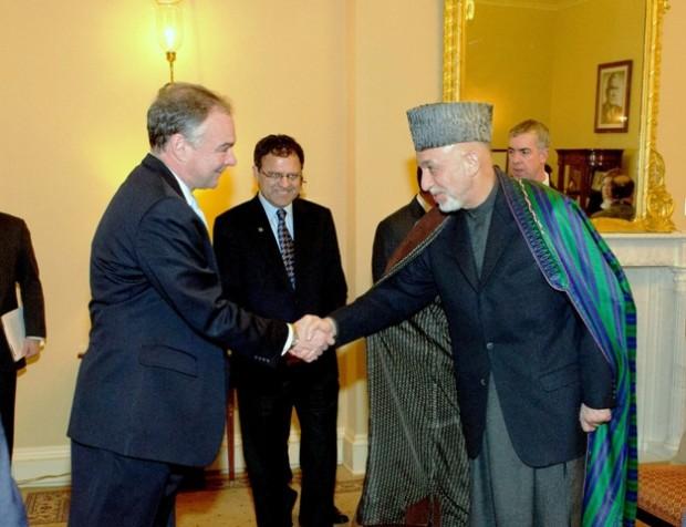 Viriginia U.S. Senator Tim Kaine meets with President Hamid Karzai of Afghanistan