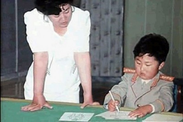 Littile Kim Jong-un Practicing drawing