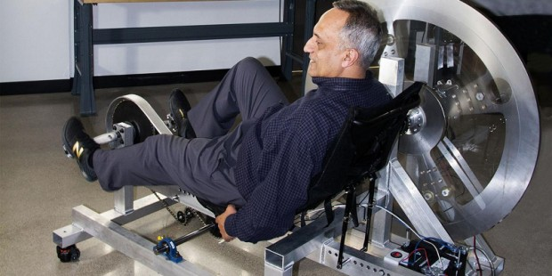Manoj Bhargava with a Stationary Bike That will Give Power to Home