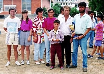 Cristiano with a trophy in His Childhood