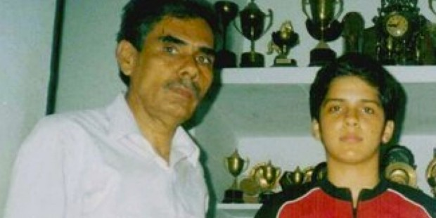 Young Saina with Her Father