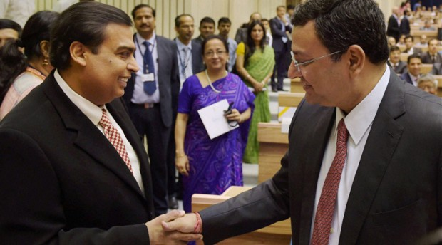 Mukesh Ambani with Tata Sons Group Chairman Cyrus Mistry