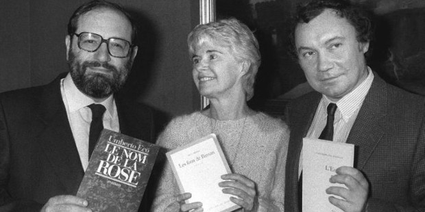 Umberto Eco with Canadian author Anne Hebert and French writer Jean-François Josselin