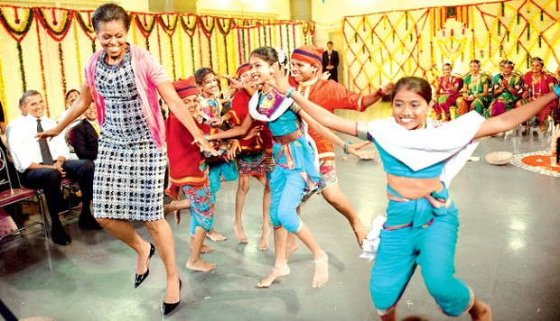Michelle Obama Dancing With Indian Kids