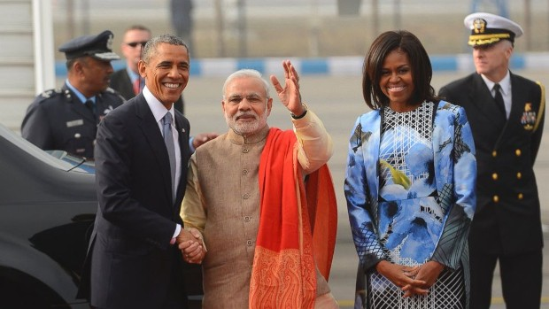 Michelle Obama With Indian Prime Minister Narendra Modi