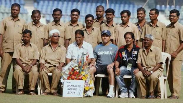 Sachin with Whankade Ground Staff