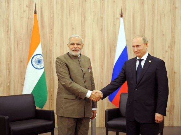 Modi with Russian President Vladimir Putin at BRICS Summit