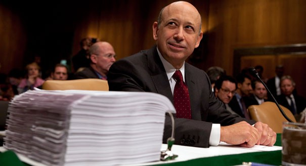 Lloyd Blankfein, the CEO of Goldman Sachs, testifies before a Senate Subcommittee