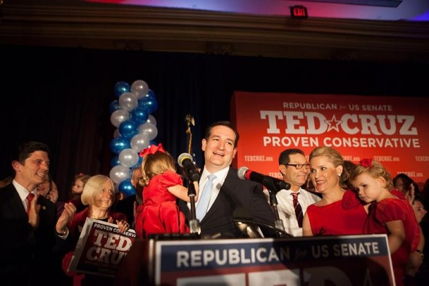 Ted Cruz celebrates on Election Night
