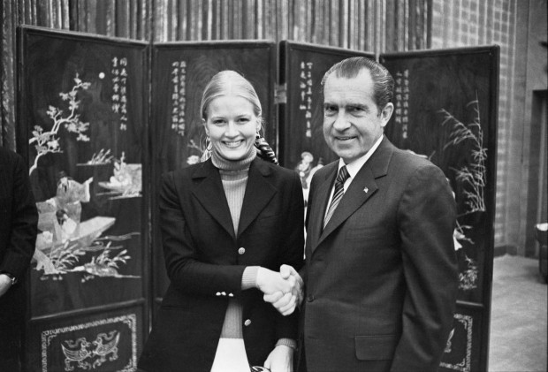President Richard Nixon Shaking Hands with White House Staff Member Diane Sawyer