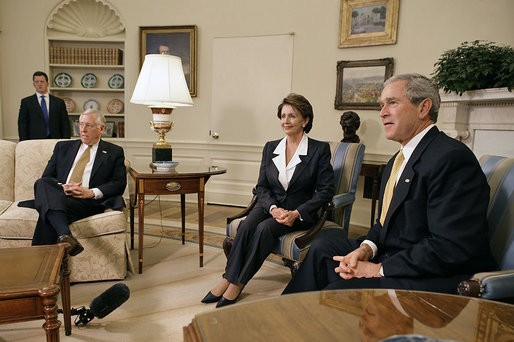 Speaker-designate Pelosi and House Minority Whip Steny Hoyer meeting with President George W. Bush