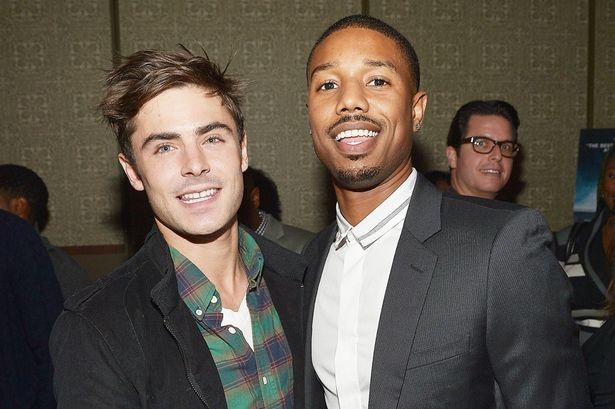 Actors Zac Efron (L) with Michael B. Jordan