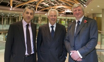 Baback Yazdani, NBS Dean with the Vice Chancellor, Neil Gorman and Stefano Pessina