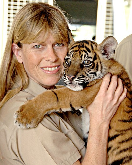 Terri Irwin With Baby Tiger