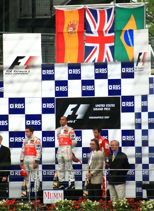 Hamilton On The Top Podium Position After Winning The 2007 United States Grand Prix