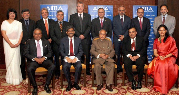 Mukesh Ambani with India President Pranab Mukherjee and AIMA Winners