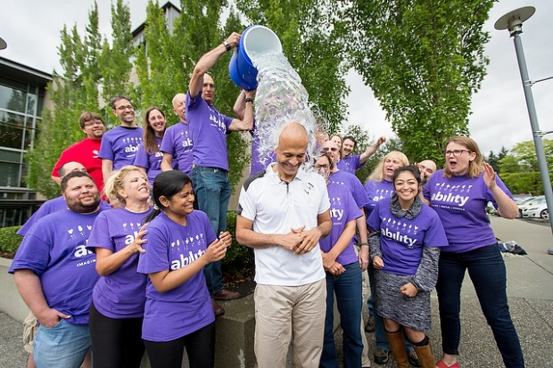 Satya Nadella taking Ice Bucket Challenge as Part of ALS Awareness Programme