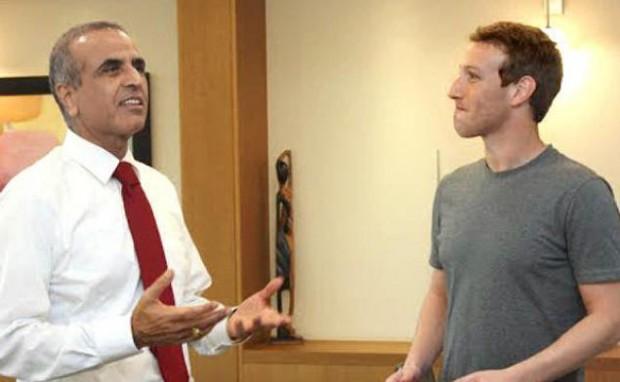 Sunil Mittal with Facebook Founder Mark Zuckerberg