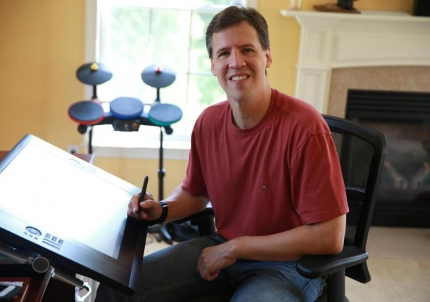 Jeff Kinney with His Drawing Board