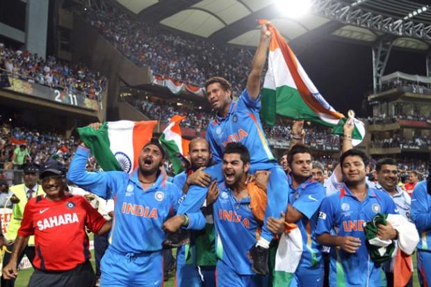 Team India Carrying Sachin Tendulkar After Winning 2011 World Cup
