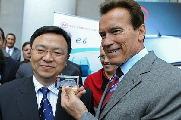 Wang Chuanfu with Arnold Alois Schwarzenegger