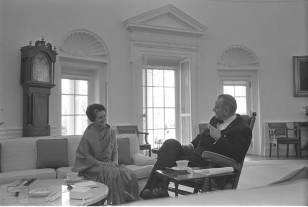 Indira Gandhi with Lyndon B. Johnson
