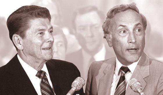 President Ronald Reagan meeting with Sen. Richard Schweiker in 1980