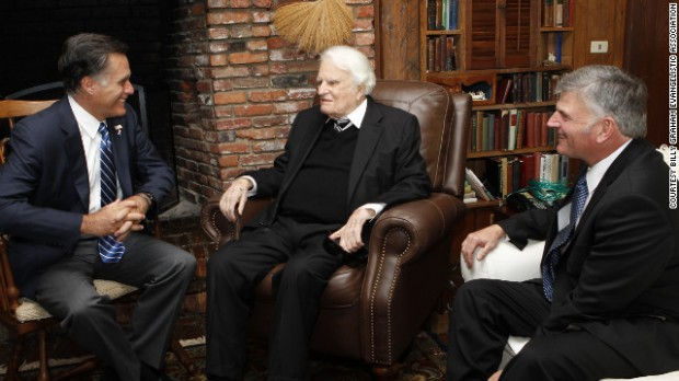 Mitt Romney meets Thursday with the Rev. Billy Graham and his son Franklin Graham.