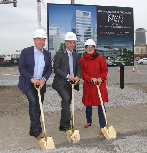 Mayor Maurizio Bevilacqua, Premier Kathleen Wynne and Mitch Goldhar