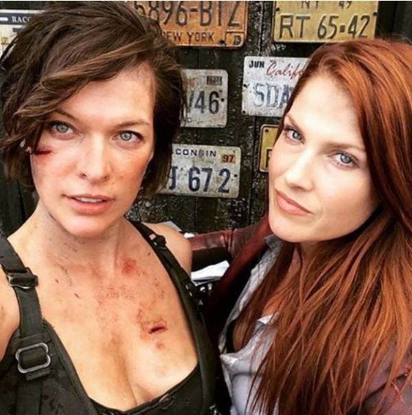 Milla Jovovich and Ali Larter During Resident Evil Movie Shoot