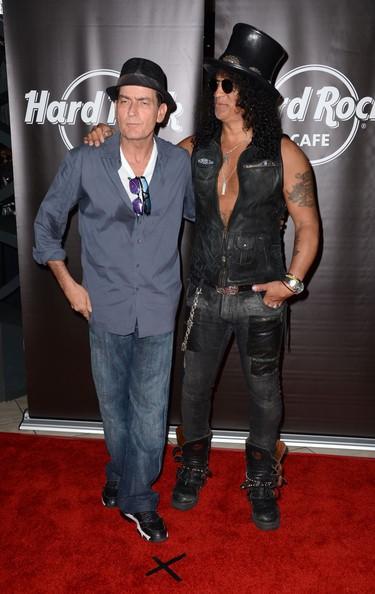 Actor Charlie Sheen and musician Slash at the Hard Rock Cafe