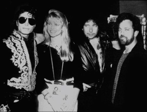 Billy Joel, Michael Jackson, Christie Brinkley with Bob Dylan