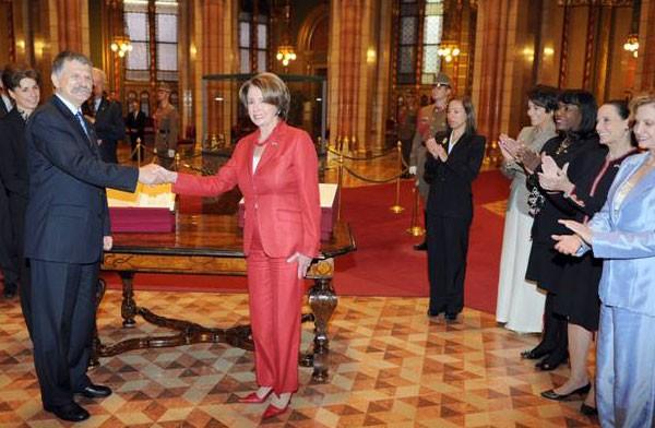 Hungarys Parliamentary Speaker László Kövér greeting former US House Speaker Nancy Pelosi