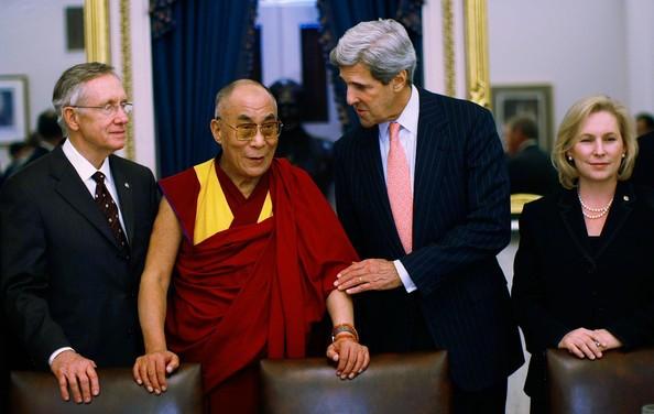 Harry Reid, John Kerry, Dalai Lama with Kirsten Gillibrand