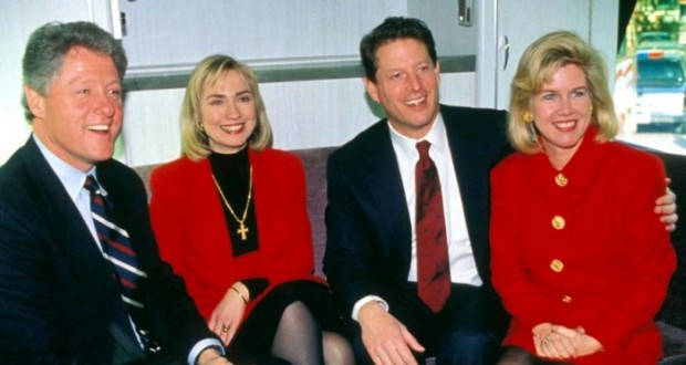 Bill & Hillary Clinton with AL & Tipper Gore
